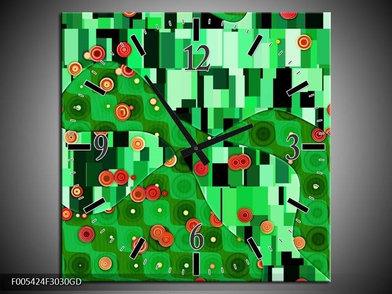 Wandklok op Glas Modern | Kleur: Groen, Oranje, Zwart | F005424CGD