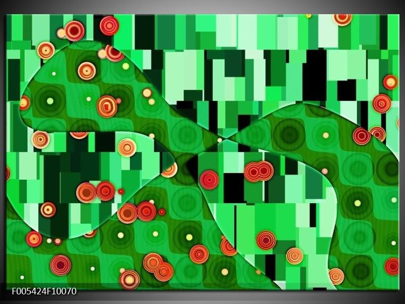 Glas schilderij Modern | Groen, Oranje, Zwart