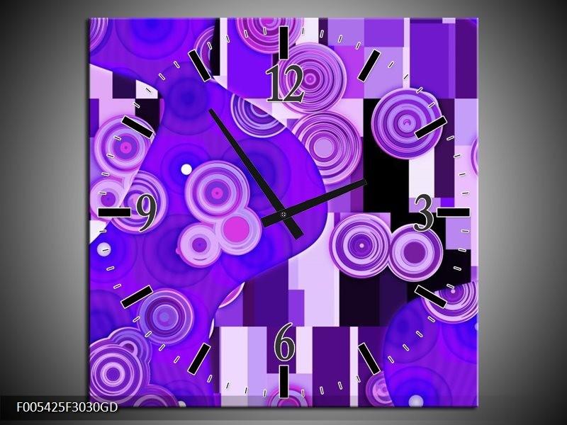 Wandklok op Glas Modern | Kleur: Blauw, Paars, Zwart | F005425CGD