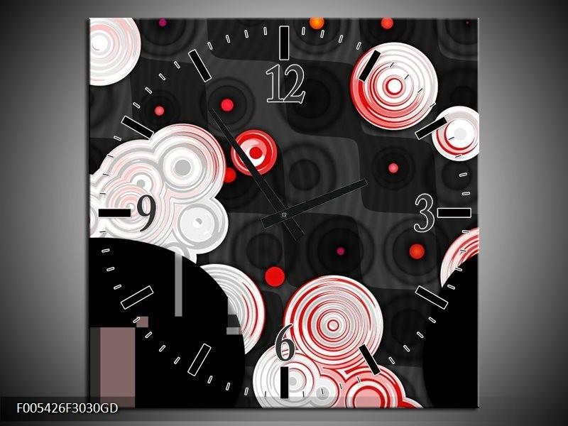 Wandklok op Glas Modern | Kleur: Rood, Zwart, Wit | F005426CGD