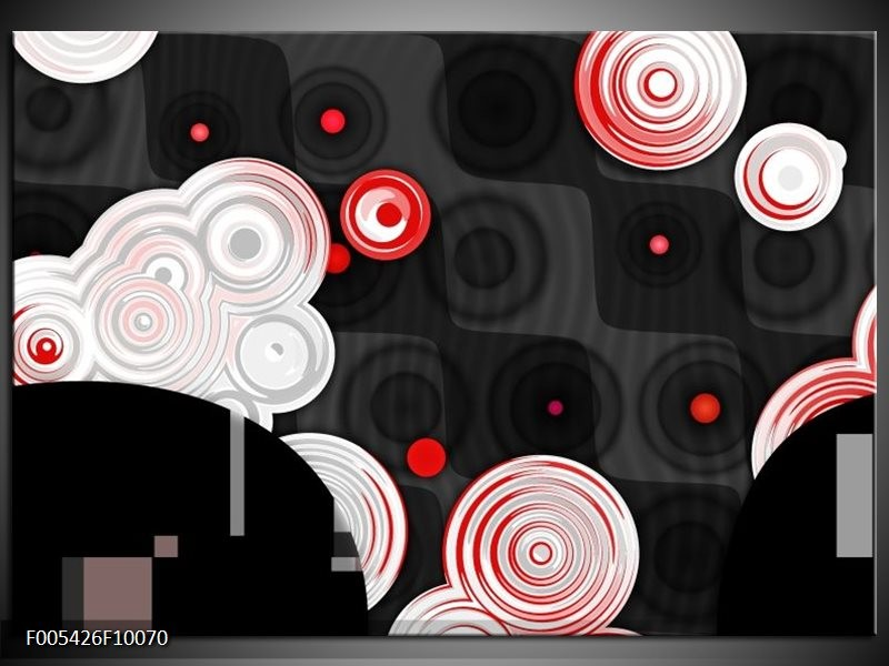Glas schilderij Modern | Rood, Zwart, Wit