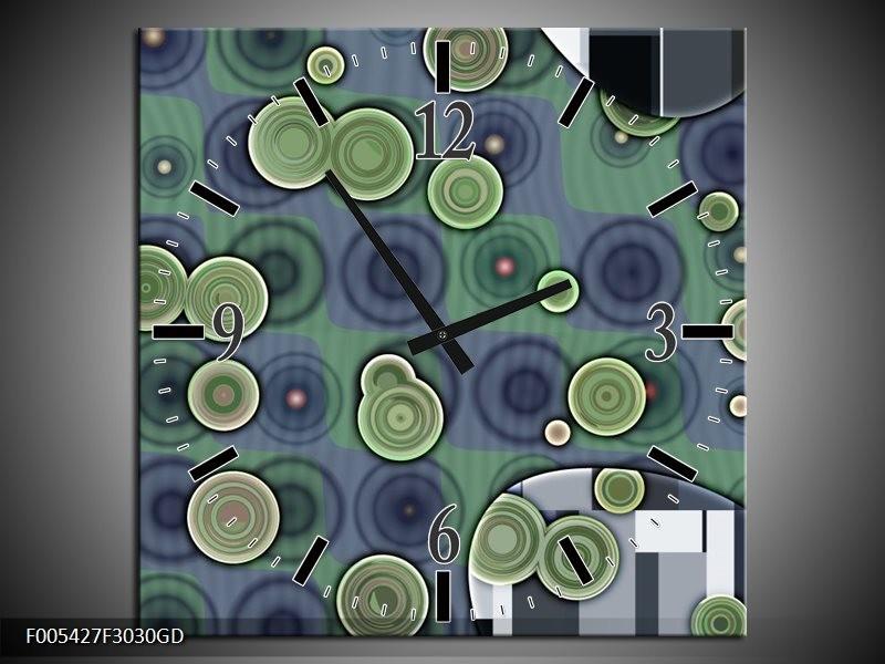 Wandklok op Glas Modern | Kleur: Groen, Grijs | F005427CGD