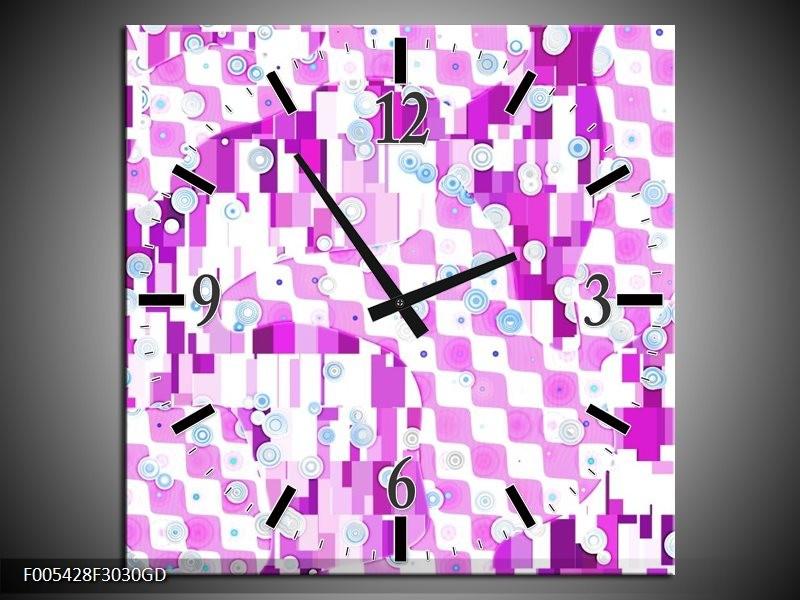 Wandklok op Glas Modern | Kleur: Paars, Wit | F005428CGD