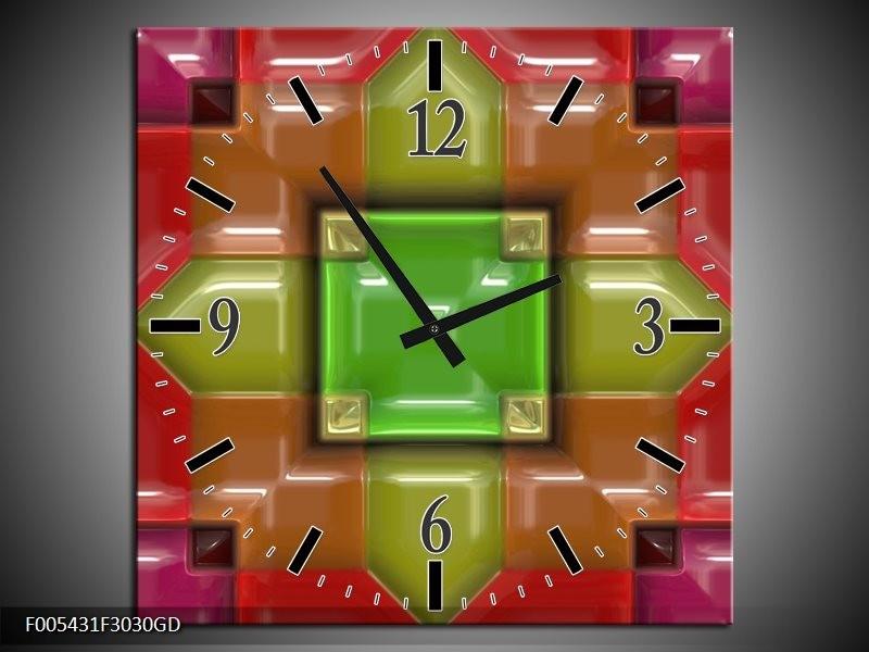 Wandklok op Glas Modern | Kleur: Groen, Rood, Geel | F005431CGD