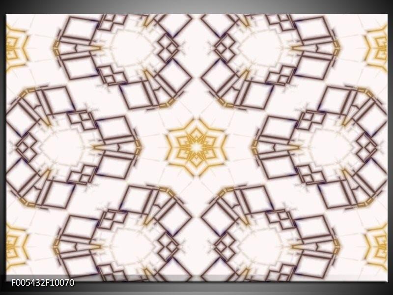 Glas schilderij Modern   Wit, Bruin, Geel