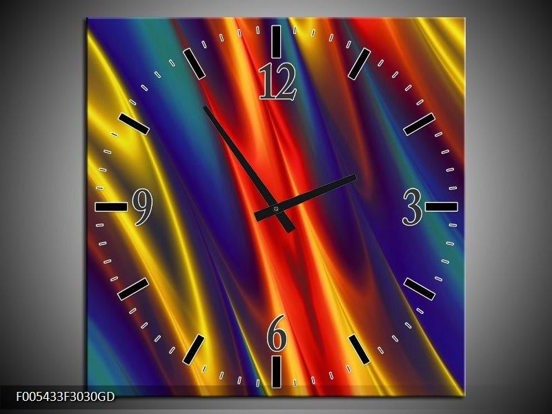 Wandklok op Glas Modern   Kleur: Blauw, Geel, Rood   F005433CGD