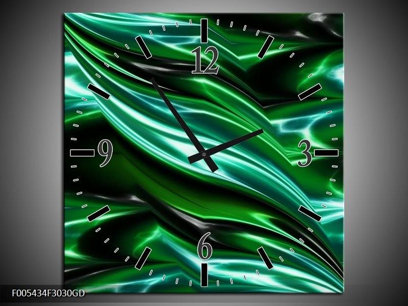 Wandklok op Glas Modern | Kleur: Groen, Wit | F005434CGD