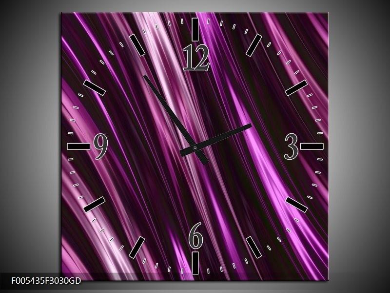 Wandklok op Glas Modern | Kleur: Paars, Wit | F005435CGD