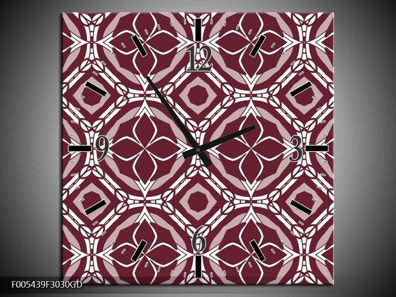 Wandklok op Glas Abstract | Kleur: Bruin, Wit | F005439CGD