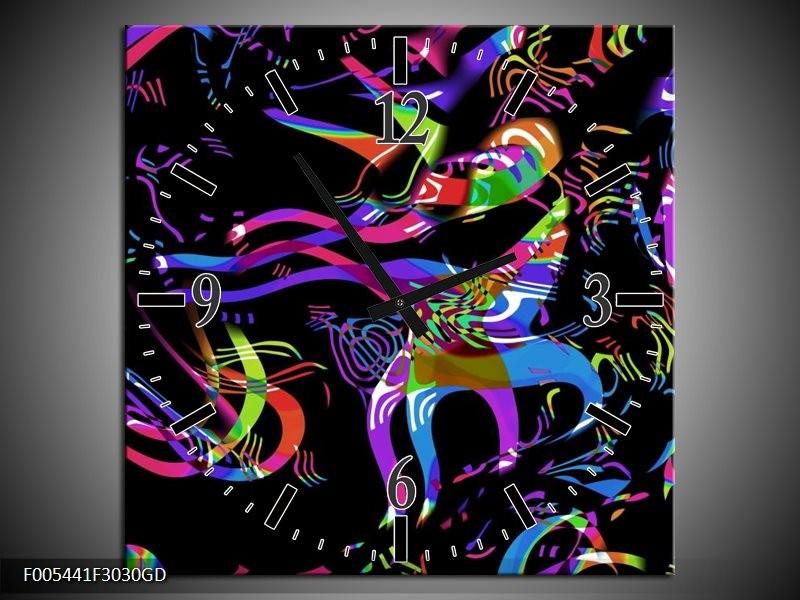 Wandklok op Glas Abstract   Kleur: Zwart, Blauw, Paars   F005441CGD