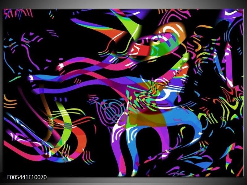 Glas schilderij Abstract | Zwart, Blauw, Paars