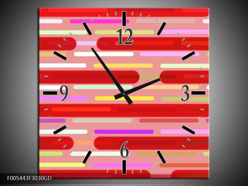 Wandklok op Glas Abstract | Kleur: Rood, Paars, Wit | F005443CGD