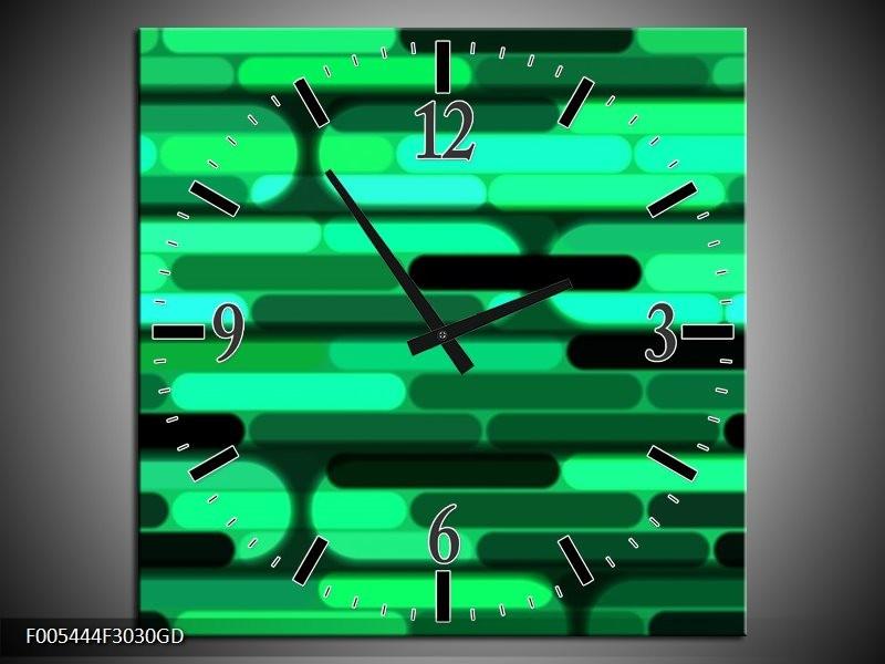 Wandklok op Glas Abstract | Kleur: Groen, Zwart | F005444CGD