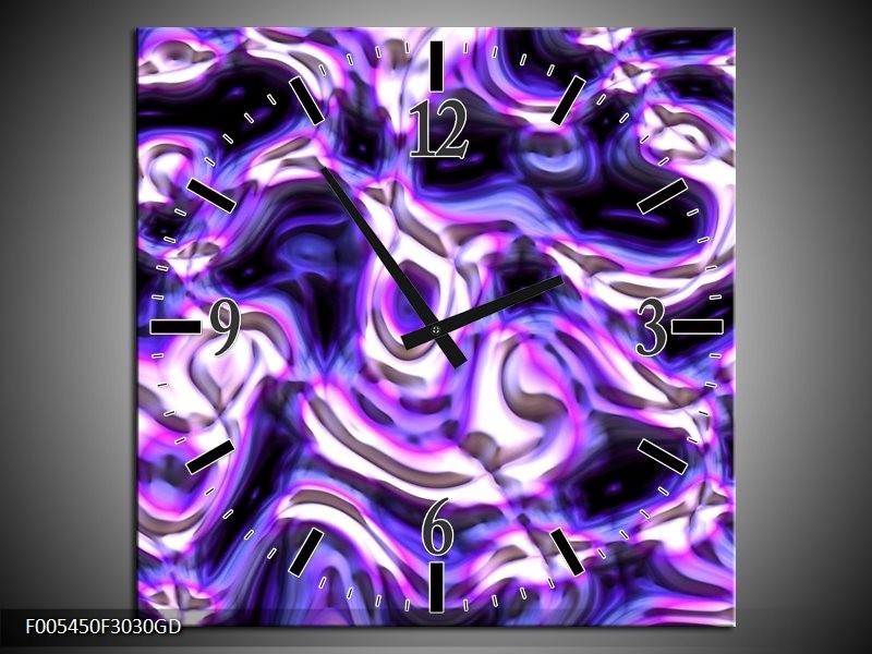 Wandklok op Glas Abstract | Kleur: Paars, Blauw, Wit | F005450CGD