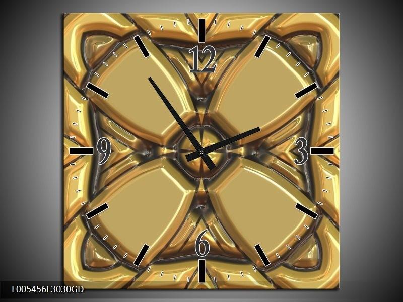 Wandklok op Glas Abstract | Kleur: Goud, Grijs | F005456CGD