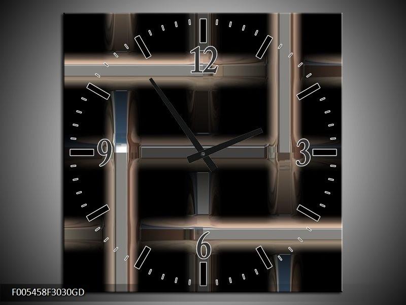 Wandklok op Glas Abstract | Kleur: Zwart, Grijs | F005458CGD