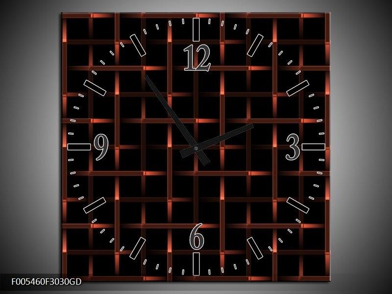 Wandklok op Glas Abstract   Kleur: Rood, Zwart   F005460CGD