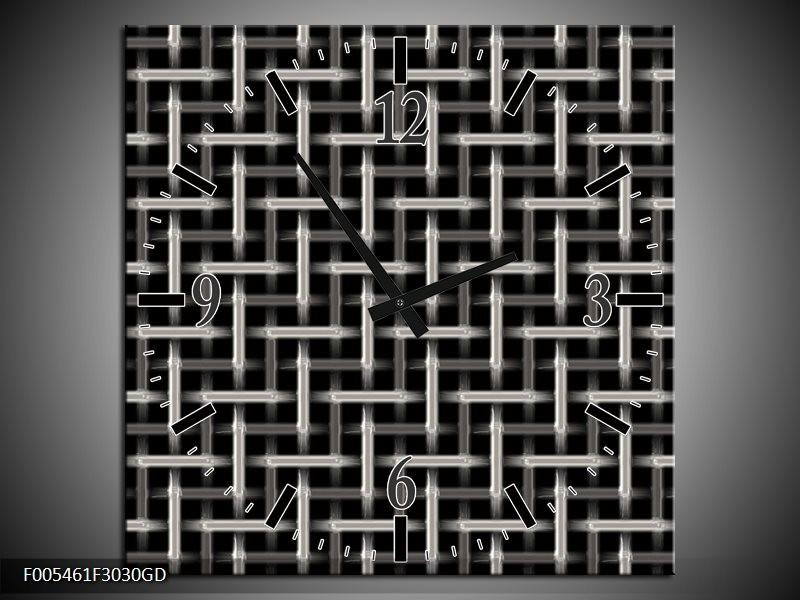 Wandklok op Glas Abstract   Kleur: Zwart, Wit, Grijs   F005461CGD