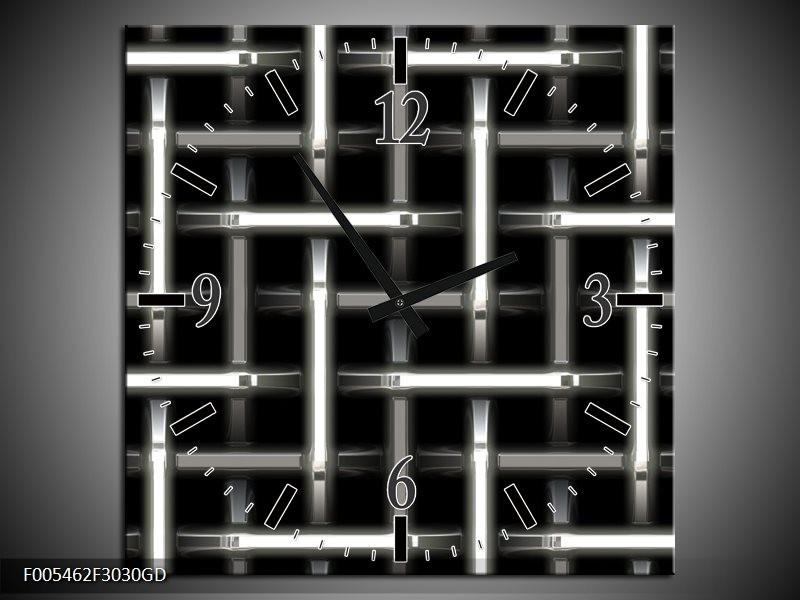Wandklok op Glas Abstract | Kleur: Zwart, Wit, Grijs | F005462CGD