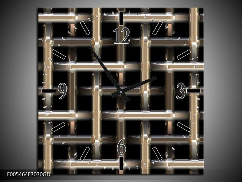 Wandklok op Glas Abstract | Kleur: Zwart, Wit, Grijs | F005464CGD