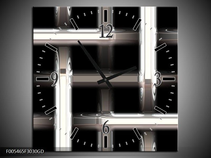 Wandklok op Glas Abstract | Kleur: Zwart, Wit, Grijs | F005465CGD