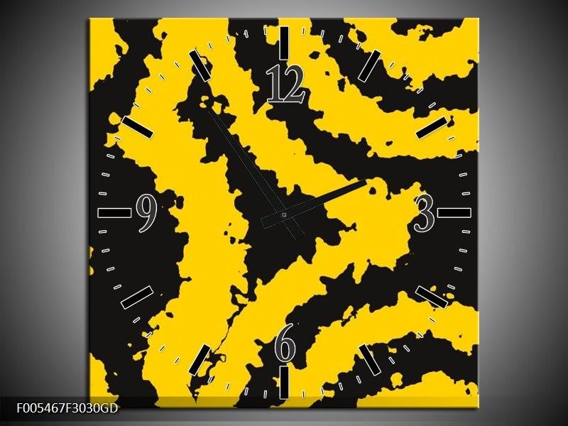 Wandklok op Glas Abstract | Kleur: Zwart, Geel | F005467CGD