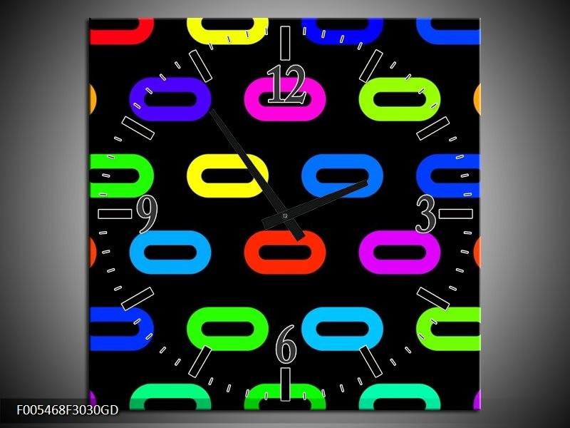 Wandklok op Glas Abstract | Kleur: Zwart, Blauw, Geel | F005468CGD