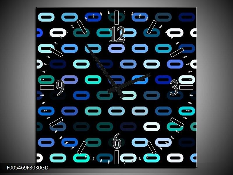 Wandklok op Glas Abstract | Kleur: Blauw, Zwart, Wit | F005469CGD