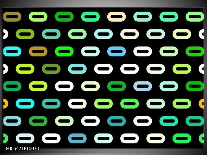 Glas schilderij Abstract | Zwart, Wit, Groen