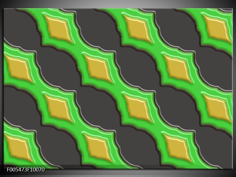 Glas schilderij Abstract | Groen, Grijs, Geel