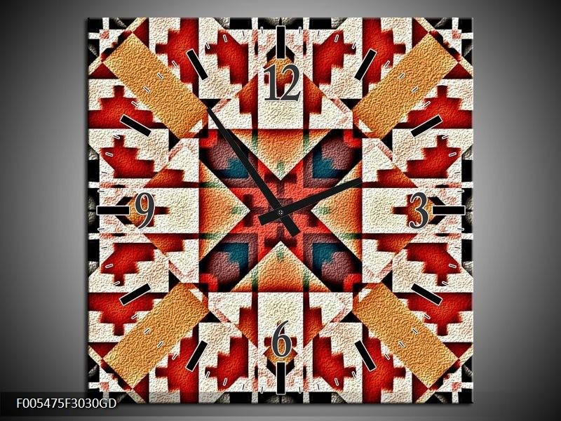 Wandklok op Glas Abstract | Kleur: Rood, Zwart, Wit | F005475CGD