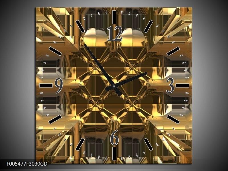 Wandklok op Glas Abstract | Kleur: Goud, Grijs, Geel | F005477CGD