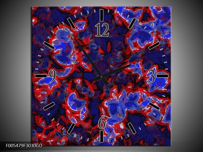 Wandklok op Glas Abstract | Kleur: Blauw, Rood, Zwart | F005479CGD