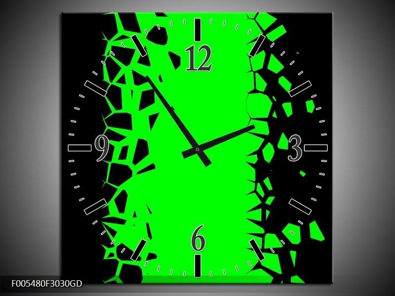 Wandklok op Glas Abstract   Kleur: Groen, Zwart   F005480CGD