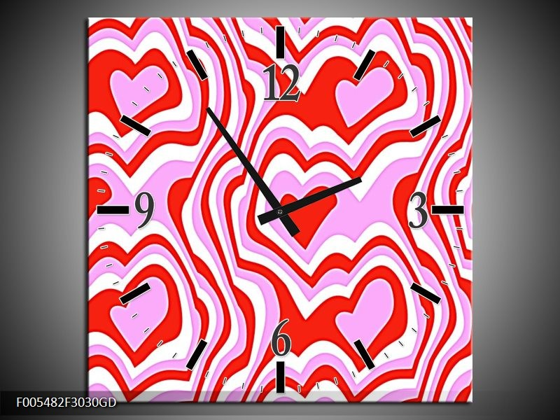 Wandklok op Glas Abstract | Kleur: Rood, Paars, Wit | F005482CGD