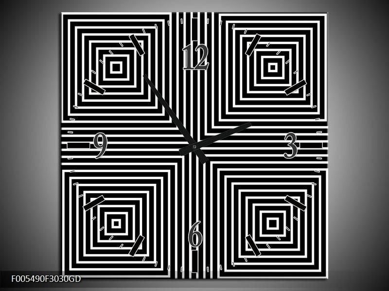 Wandklok op Glas Abstract | Kleur: Zwart, Grijs, Wit | F005490CGD