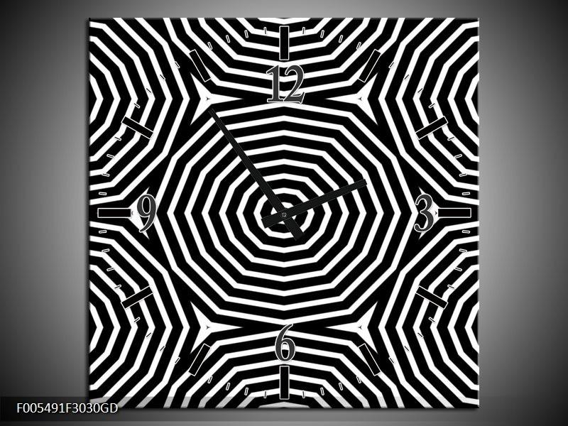 Wandklok op Glas Abstract | Kleur: Zwart, Grijs, Wit | F005491CGD