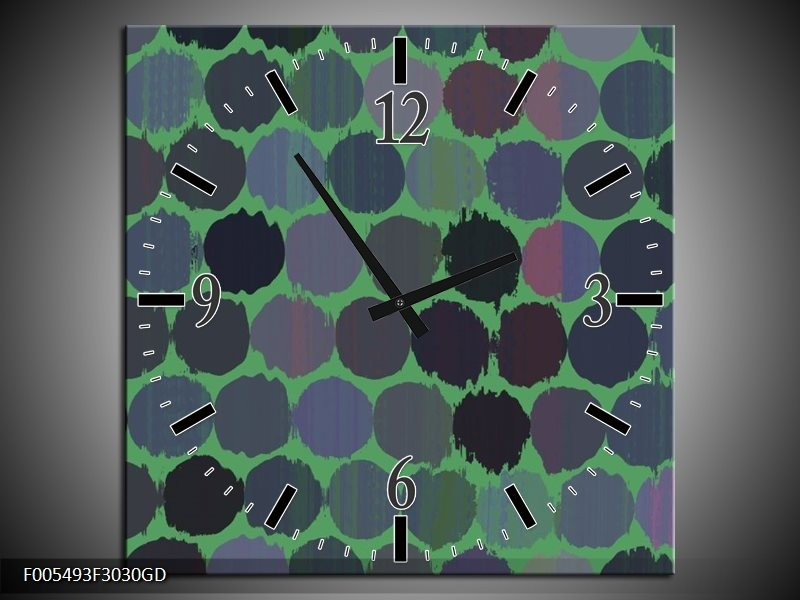 Wandklok op Glas Abstract   Kleur: Groen, Zwart   F005493CGD