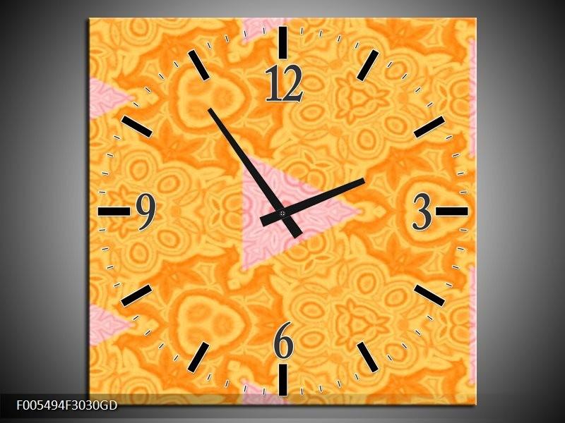 Wandklok op Glas Abstract   Kleur: Geel, Oranje   F005494CGD