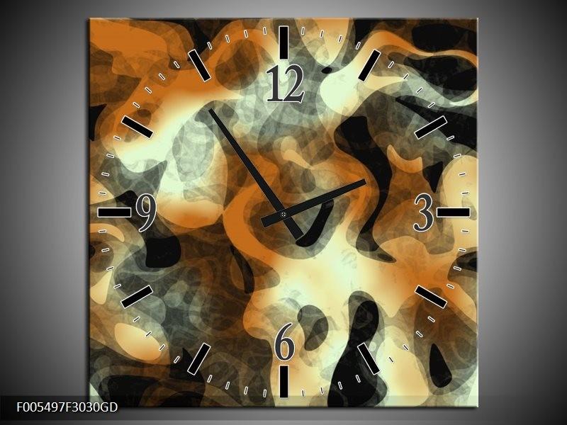 Wandklok op Glas Abstract | Kleur: Oranje, Zwart, Grijs | F005497CGD