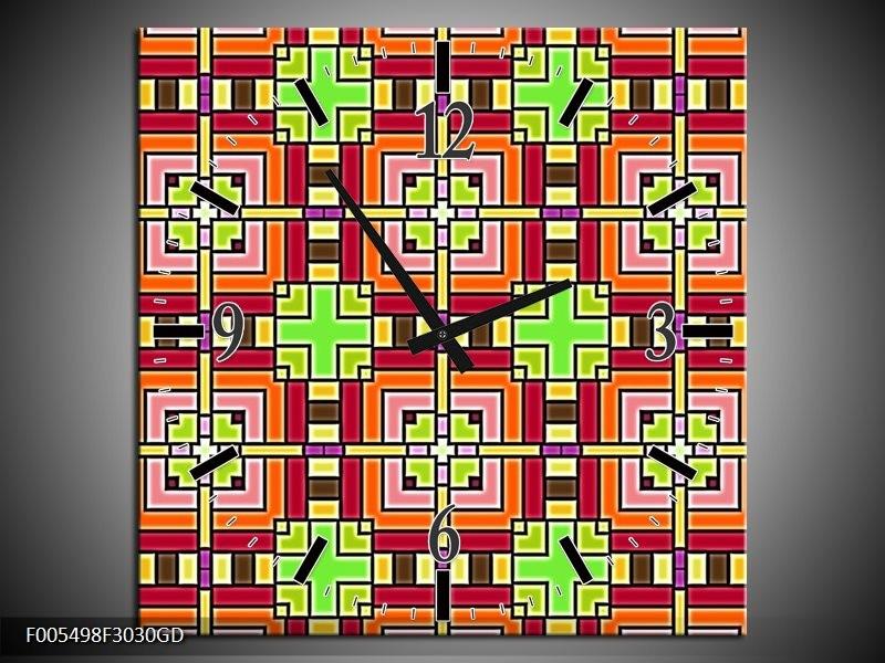 Wandklok op Glas Abstract   Kleur: Groen, Rood, Geel   F005498CGD