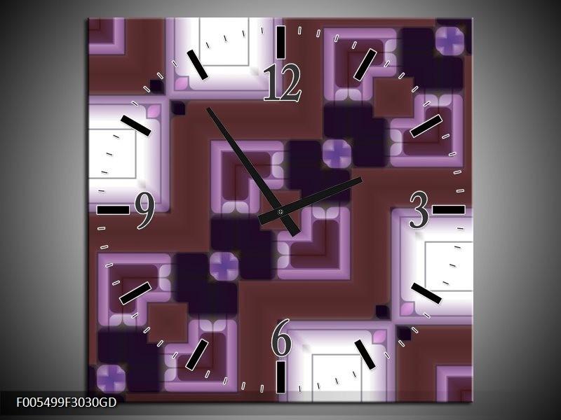 Wandklok op Glas Abstract | Kleur: Bruin, Wit, Paars | F005499CGD