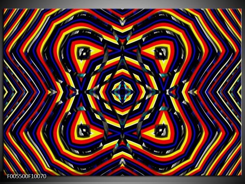 Glas schilderij Abstract   Geel, Oranje, Blauw