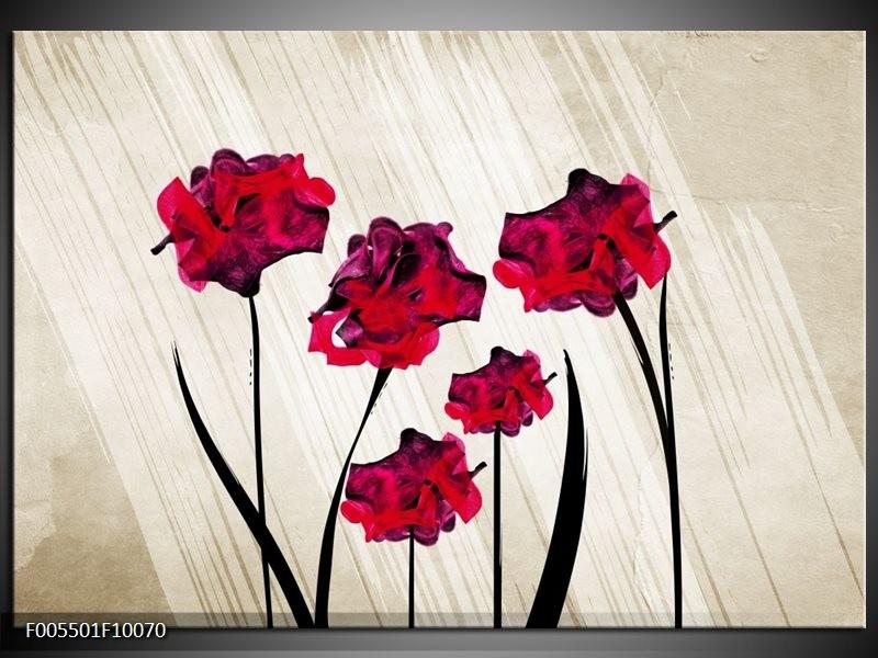 Glas schilderij Klaproos | Rood, Crème , Zwart