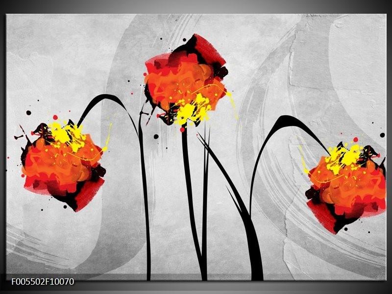 Glas schilderij Klaproos | Oranje, Grijs, Zwart
