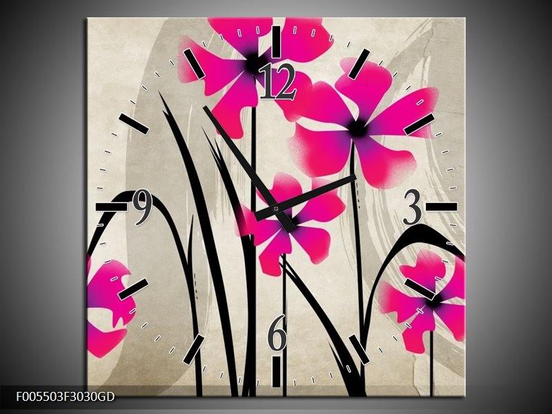 Wandklok op Glas Bloem   Kleur: Roze, Zwart, Creme   F005503CGD