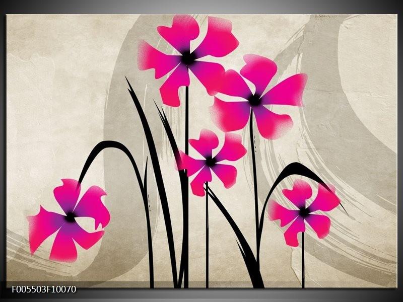 Glas schilderij Bloem | Roze, Zwart, Crème