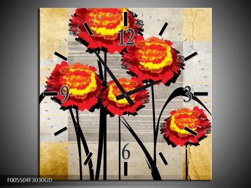 Wandklok op Glas Bloem | Kleur: Oranje, Geel, Grijs | F005504CGD