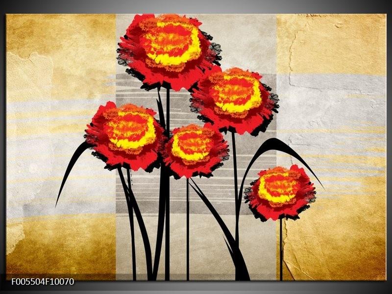 Glas schilderij Bloem | Oranje, Geel, Grijs