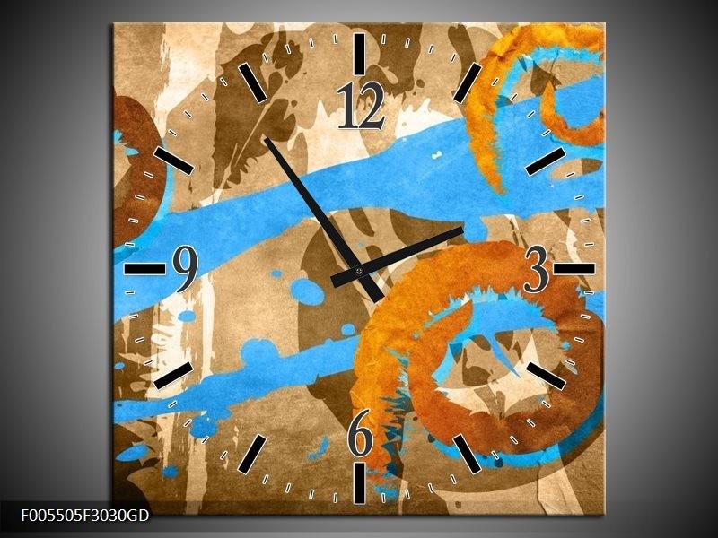 Wandklok op Glas Art | Kleur: Blauw, Oranje, Bruin | F005505CGD